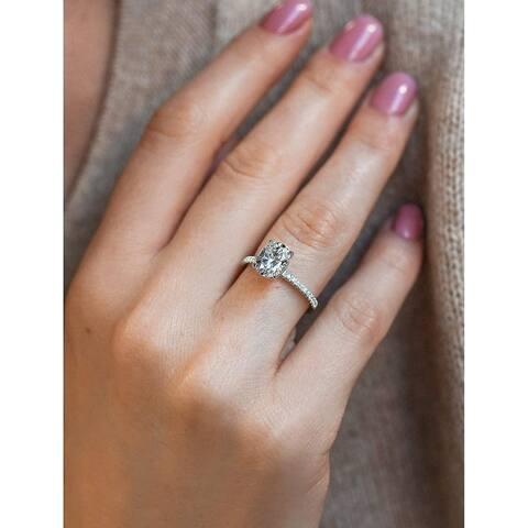 Annello by Kobelli 14k Gold 2ct TGW Moissanite and Lab Diamond Engagement Ring (HI/VS, DEF/VS)