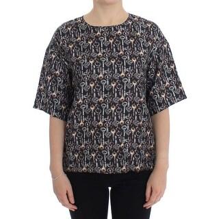 Dolce & Gabbana Dolce & Gabbana Gray Gold Key Print Silk Blouse T-shirt