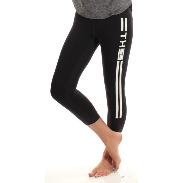f2b766d5479b7 Shop TOMMY HILFIGER Womens Black Logo Active Wear Leggings Size: S - Free  Shipping On Orders Over $45 - Overstock - 27124783