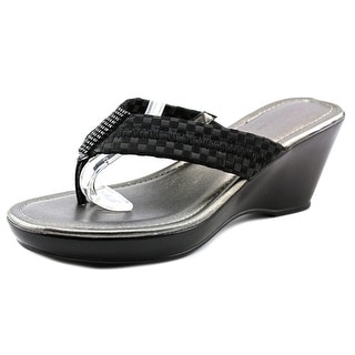 White Mountain Wishlist Women Open Toe Canvas Black Wedge Sandal