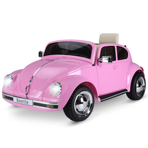 Aosom Licensed Volkswagen Beetle Ride-on Kids Electric Car with Secondary Remote Control & Extra Wide Safety Tires
