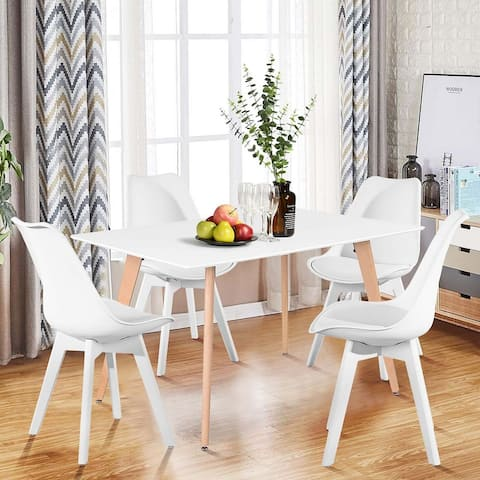 """47"""" Dining Table In Square Beech Legs - White"""