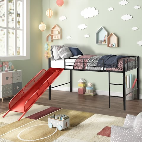 Twin Metal Loft Bed with Slide,Low loft, Strong Slide for Child