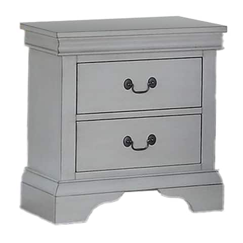 Traditional Wooden Nightstand with Two Drawers, Gray