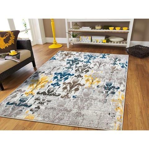 Copper Grove Saarijarvi Distressed Ivory, Grey, Blue, Yellow Area Rug
