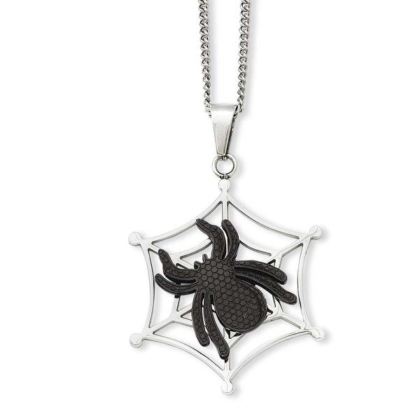 Stainless Steel IP Black-plated Spider & Polished Web Pendant 22in Necklace (1 mm) - 22 in