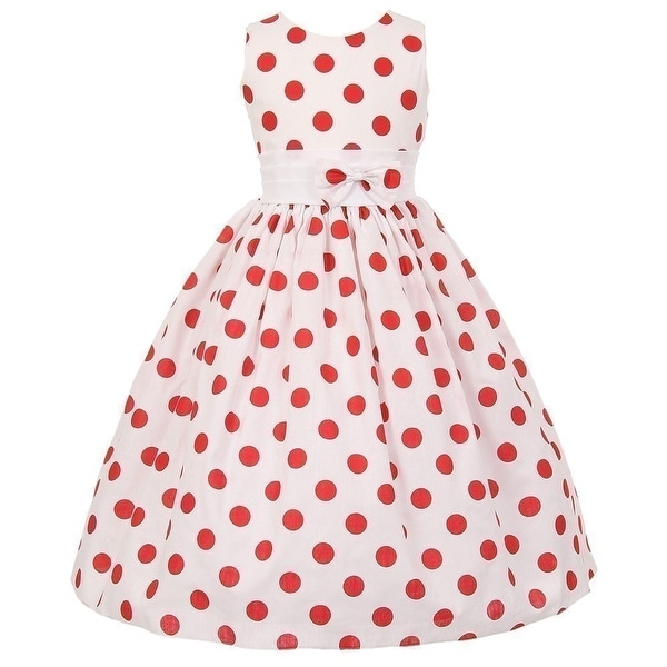 Shop Little Girls White Red Polka Dots Poly Cotton Spring