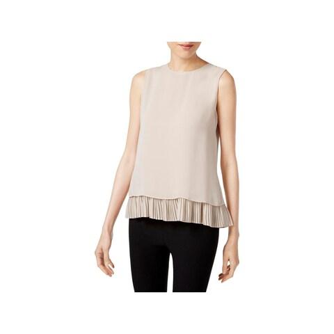 Calvin Klein Womens Blouse Pleated Drapey