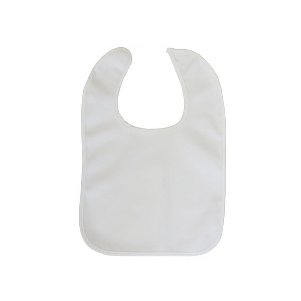 Bambini Baby 2-Ply Terry Full Size Bib White with White Trim - 1027W