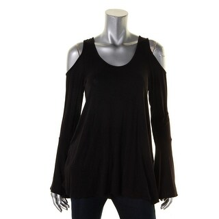 Elan Womens Pullover Top Cold Shoulder Scoop Neck