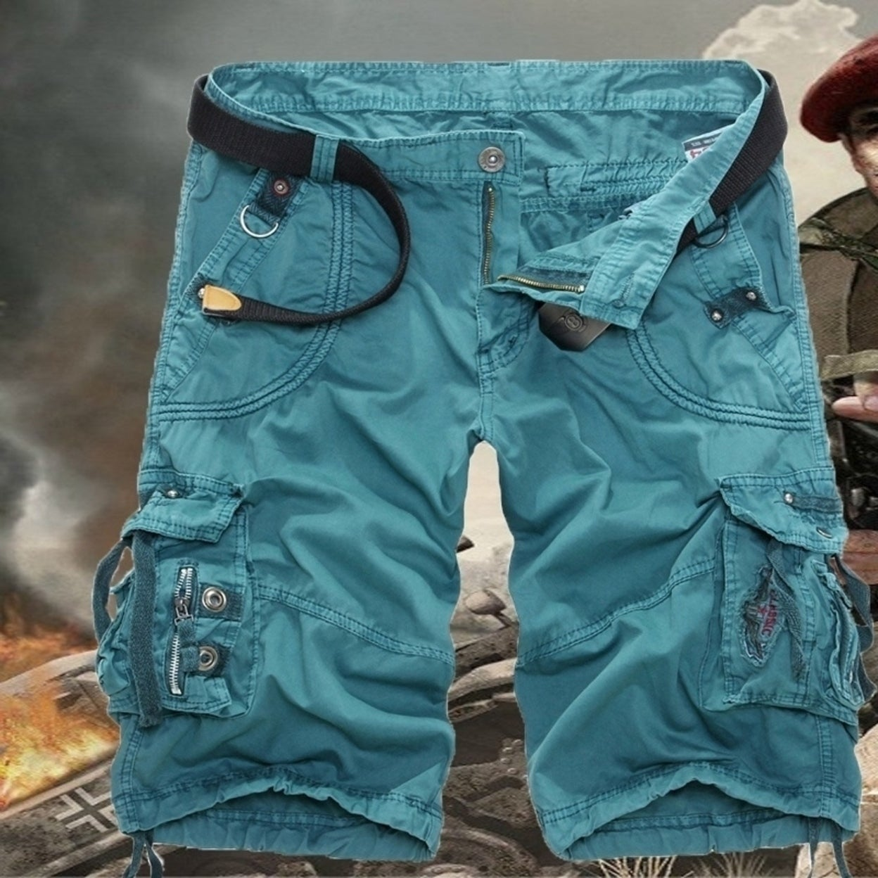 AU Mens Cargo Shorts Military Army Combat Camo Pants Summer Work Casual Trousers
