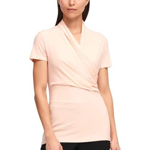DKNY Womens Blouse Faux-Wrap Short Sleeve