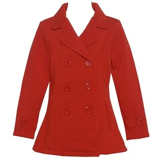 Littoe Potatoes Girls Red Front Pockets Double Breasted Coat 8