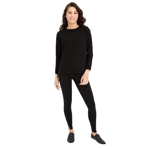 SPANX EveryWear Hem Slit Very Black Leggings