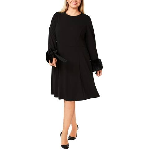 Calvin Klein Womens Plus Cocktail Dress A-Line Crepe