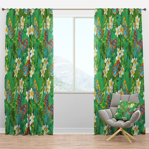 Designart 'Tropical Pattern with Flowers & Butterflies' Tropical Blackout Curtain Panel. Opens flyout.
