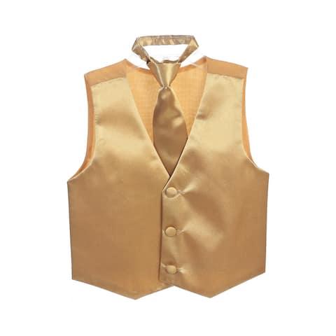 Boys Gold Three Button Satin Vest Tie 2 Pc Set
