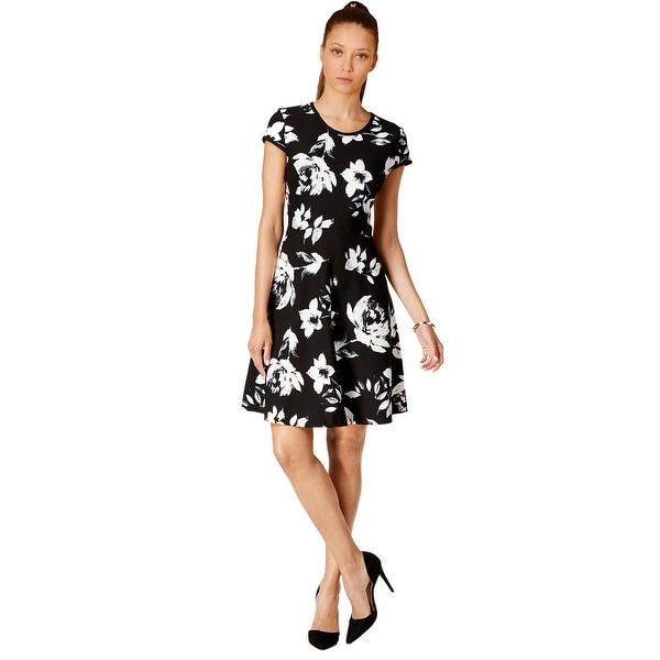 Shop Ivanka Trump Cap Sleeve Floral Fit Amp Flare Dress 12