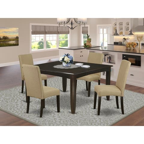 Square 36/54 Inch Table and Parson Chairs in Brown Linen Fabric (Number of Chairs Option)