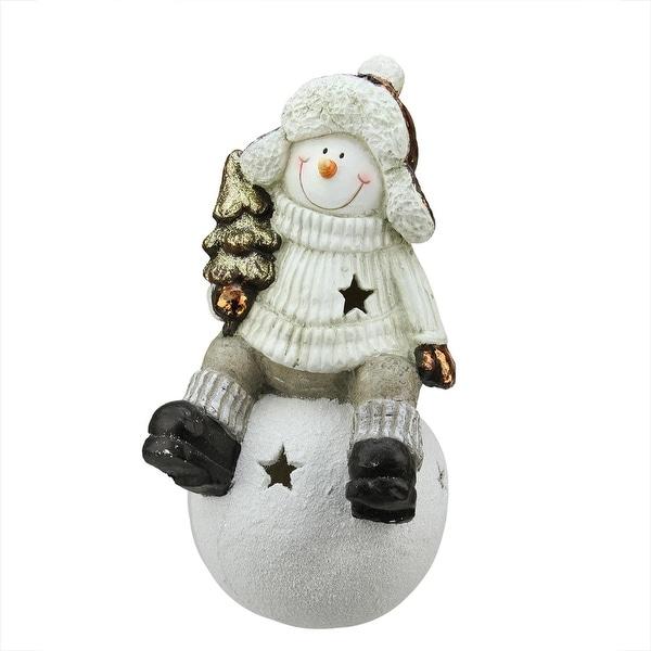 "19"" Metallic Snowman Sitting on Snowball Christmas Tea Light Candle Holder - GOLD"