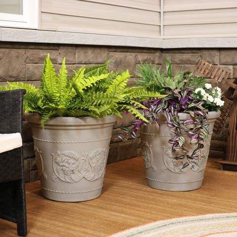 Arabella Outdoor Flower Pot Planter - Beige - 20-Inch - 2-Pack - 2