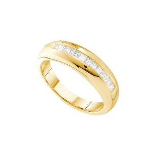 14k Yellow Gold Princess Natural Diamond Mens Masculine Size 10 Classic Wedding Band 1/2 Cttw - White