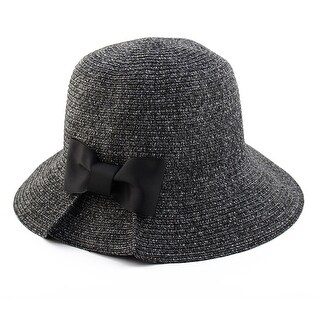 Women Lady Straw Bowknot Shape Brimmed Beach Hat Foldable Topee Floppy Cap Black