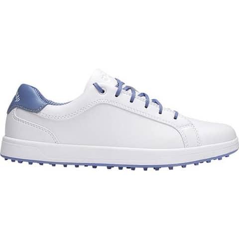 Callaway Women's Del Mar Waterproof Golf Shoe White/Blue Microfiber Leather