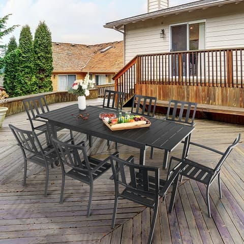 MFSTUDIO Seats up to 6/8 Outdoor Patio Dining Set, 6/8 Metal Stackable Chairs and 1 Rectangular Expandable Table
