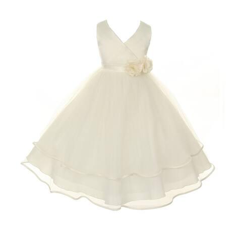 Kids Dream Girls Ivory Criss-Cross Satin Tulle Junior Bridesmaid Dress