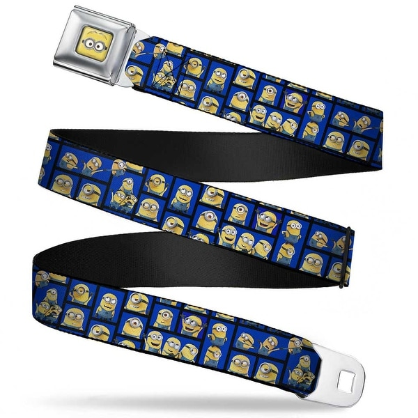 Minion Dave Face Close Up Full Color Minions Posing Blocks2 Blue Webbing Seatbelt Belt