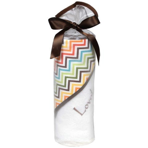 Raindrops Unisex Baby Loved 2 Pc Hooded Towel Set Chocolate Multi-Chevron One Size - One Size