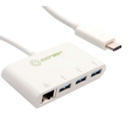 IOCrest White USB 3.1 Type-C Generation 1 to 3-Port USB 3.0 Type-A + 1-Port Gigabit Hub