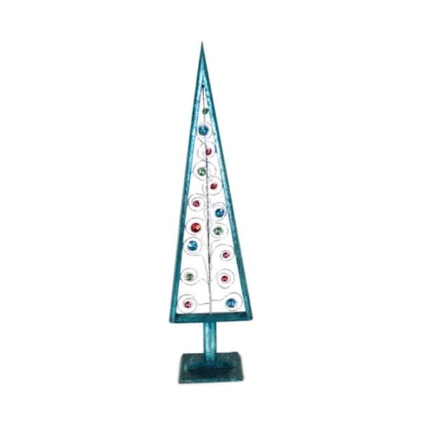 "23.5"" Turquoise Blue Tabletop Christmas Tree with Multi-Colored Jewels"