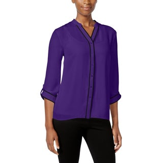 NY Collection Womens Petites Button-Down Top Contrast Trim V-Neck - pxs