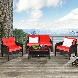 Link to Costway 4PCS Patio Rattan Furniture Set Loveseat Sofa Coffee Table Similar Items in Patio Furniture