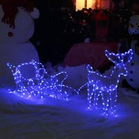 Sunnydaze Sleigh with Reindeer LED Outdoor Light Display - 58-inch x 23-Inch