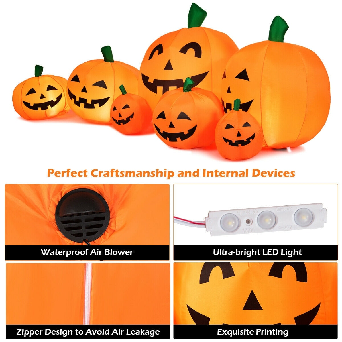 Gymax 7 5ft Inflatable Halloween Pumpkins Set 7 Pumpkins Patch W Overstock 29194958