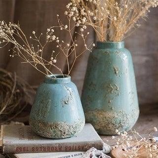 RusticReach Turquoise Ceramic Vase