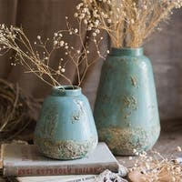 RusticReach Turquoise Ceramic Vase