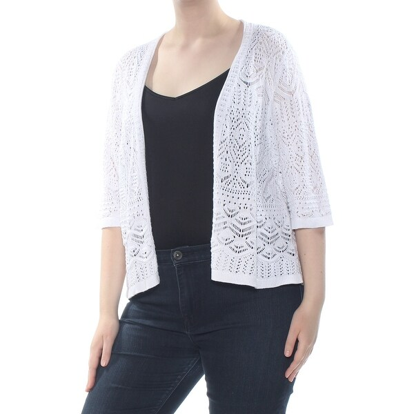 Shop Jm Collection Womens White Crochet Shrug Jacket Plus Size 2x