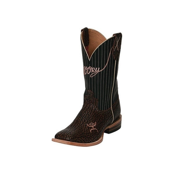 HOOey Western Boots Mens Square Roper Leather Brown Black