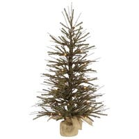4' Vienna Twig Artificial Christmas Tree with Burlap Base - Clear Dura-Lit Lights