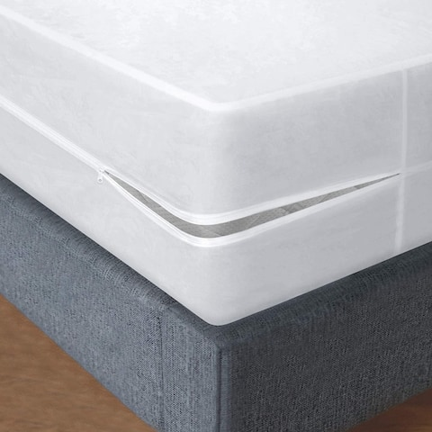 Plastic Mattress Protector Zippered, Waterproof Vinyl Mattress Cover,
