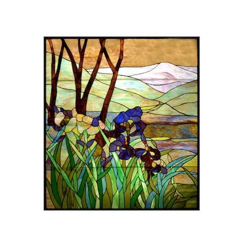 Meyda Tiffany 72473 Tiffany Rectangular Stained Glass Window Pane from the Iris Collection -