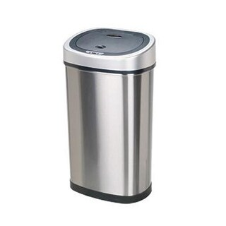 Nine Star Oval 13.2 Gallon - 50 Liter Trash Can - Stainless Steel