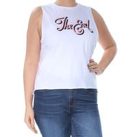 KID-DANGEROUS Womens White Printed Sleeveless Crew Neck Top  Size: L