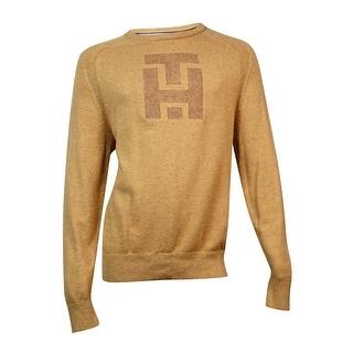 Tommy Hilfiger Men's Cotton Blend Crew Neck Sweater (Camel Heather, L/G)