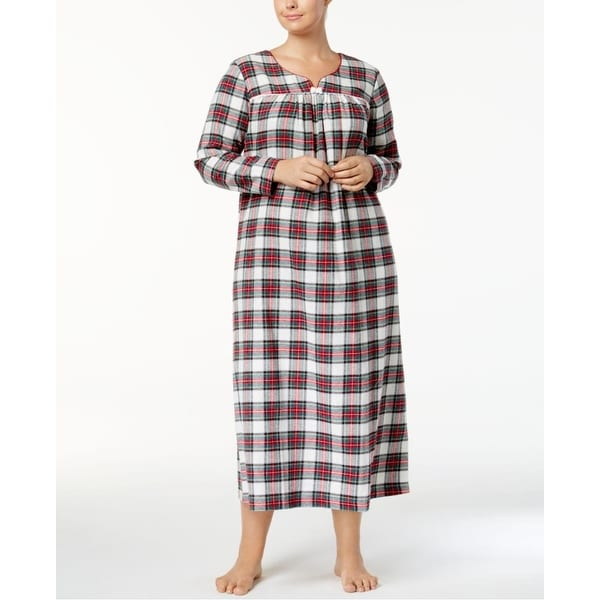 Shop Charter Club Womens Flannel Lace Trim Nightgown Stewart Plaid
