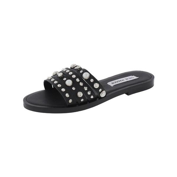 Steve Madden Womens Galaxy Flat Sandals Open Toe Jeweled - 5.5 medium (b,m)